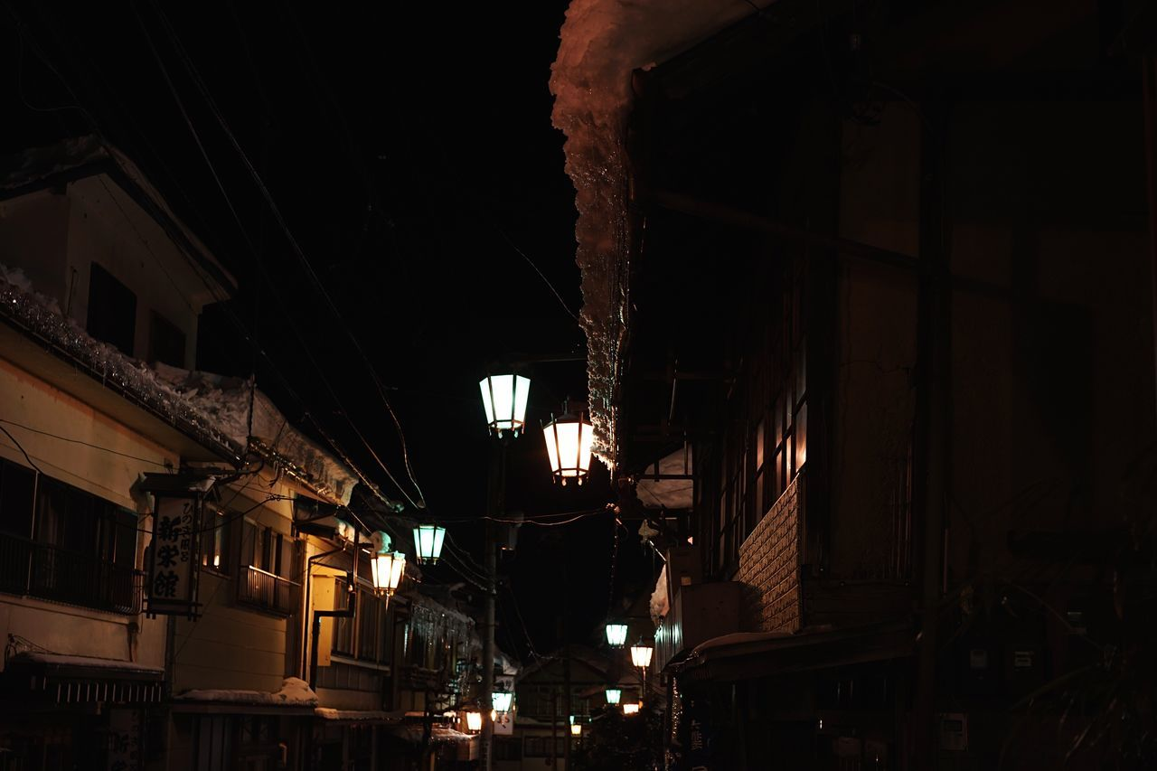 Hot spring town Built Structure Building Exterior Architecture Low Angle View No People Illuminated Night Indoors  Sky Travel Destinations 渋温泉 Snow Covered Hot Spring Shibu Onsen Onsen Japanese Style Japanese Traditional Night Lights Night View Old Buildings Ryokan Japanese Architecture Old Town Old House Full Length Miles Away