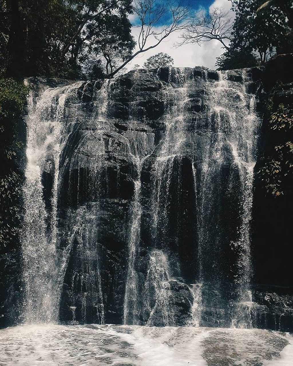 motion, water, waterfall, long exposure, tree, beauty in nature, nature, outdoors, day, no people, scenics, forest, spraying, sky