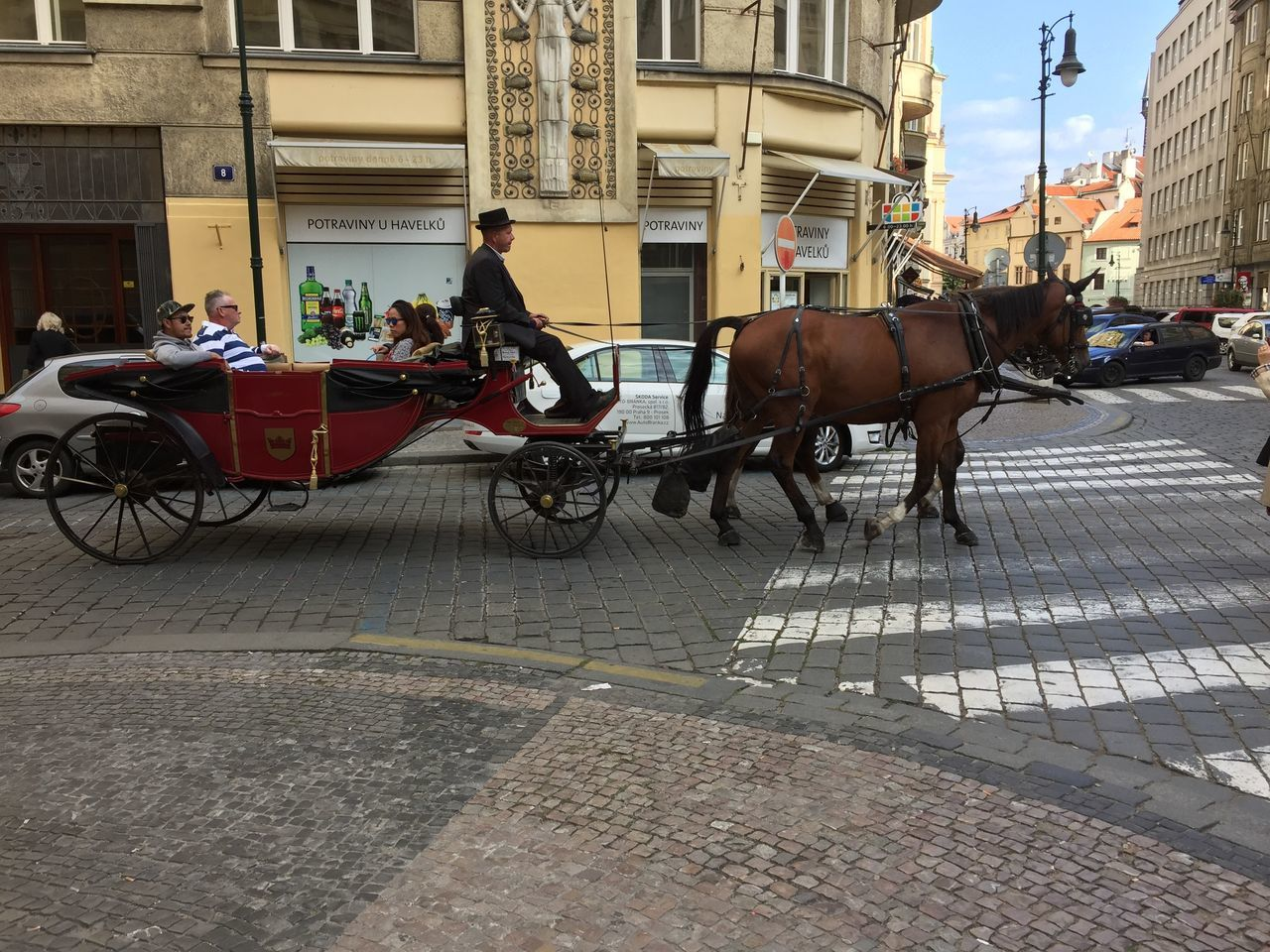 Architecture Building Exterior Built Structure Carriage City Day Domestic Animals Herbivorous Horse Horse Cart Horsedrawn Livestock Mammal Men Mode Of Transport One Animal Outdoors Street Transportation Working Animal