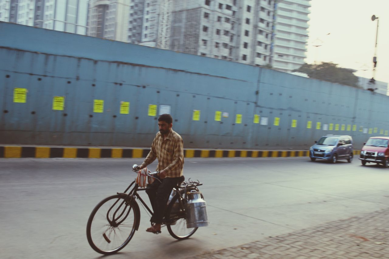 Rear View Real People Transportation Bicycle Only Man Cycling