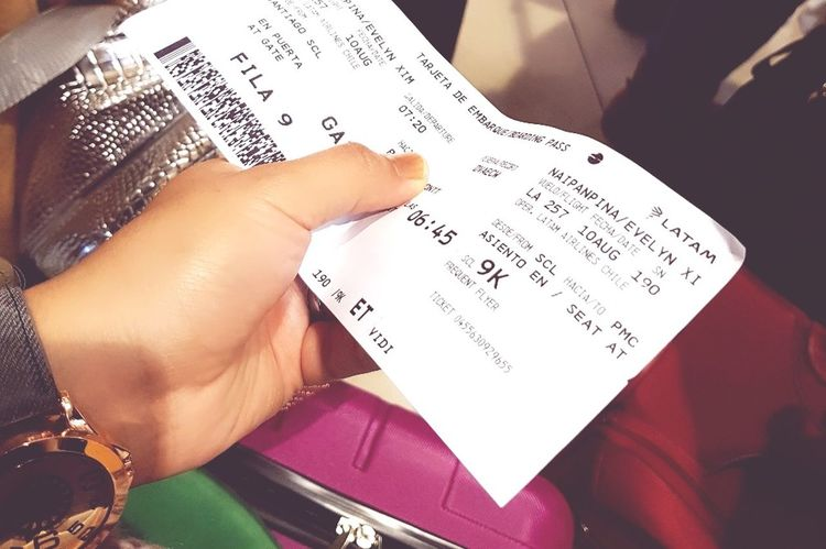 Human Body Part Ticket Abord Pass Human Hand Sky LATAM AIRLINES Fly