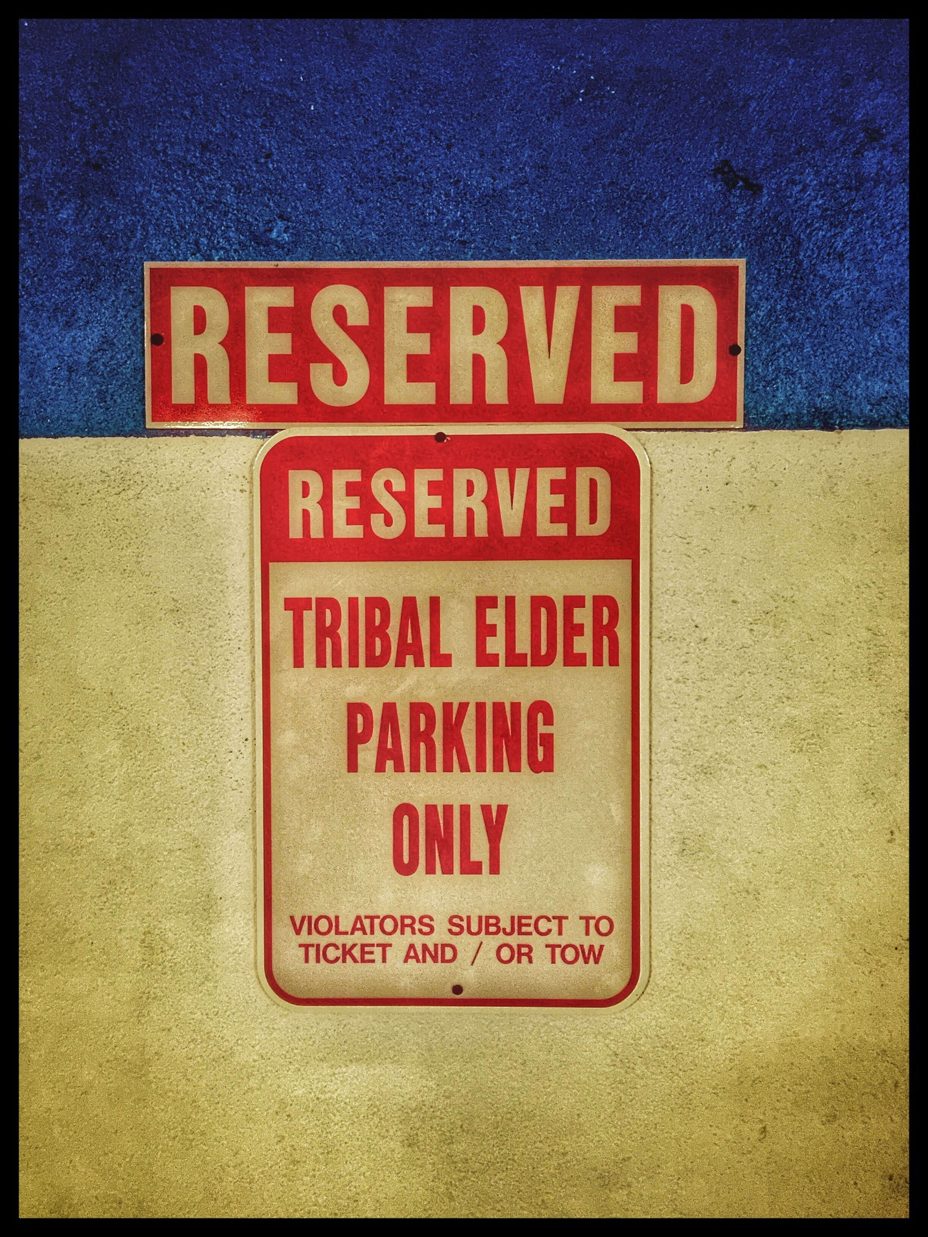 Native American Indian Pequot Connecticut Sign No Parking Tribal Elder