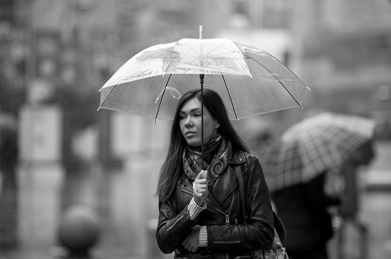 Beautiful People Beautiful Woman Black & White Holding One Person One Woman Only Overcoat Portrait Protection Rain Real People Street Photography Umbrella Umbrella Revolution Warm Clothing Young Women