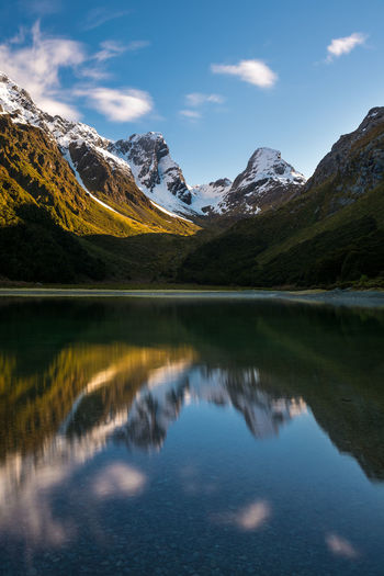 Lake Mackenzie in the morning Hiking Travel Trekking Beauty In Nature Idyllic Lake Landscape Long Exposure Mountain Mountain Peak Mountain Range Mountains Nature New Zealand No People Outdoors Reflection Routeburn Track Scenics Snow Snowcapped Mountain Tranquility Water
