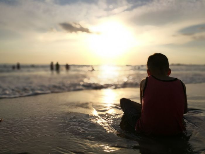 Beach Sunset Water Sea One Person People Nature Horizon Over Water Tranquil Scene In Touch With Nature Alonetime