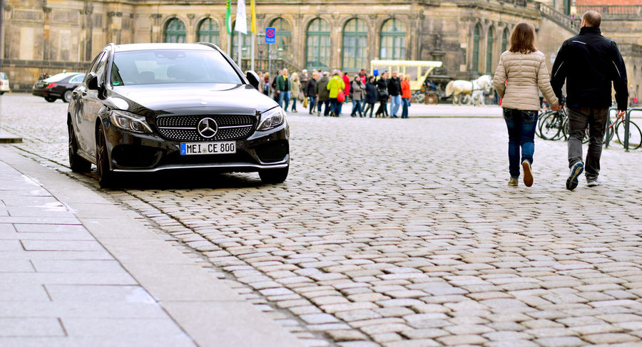 Cobble Stone Couple Dresden Mercedes Street Life Walking Together Warm Clothes. <3 Wintertime