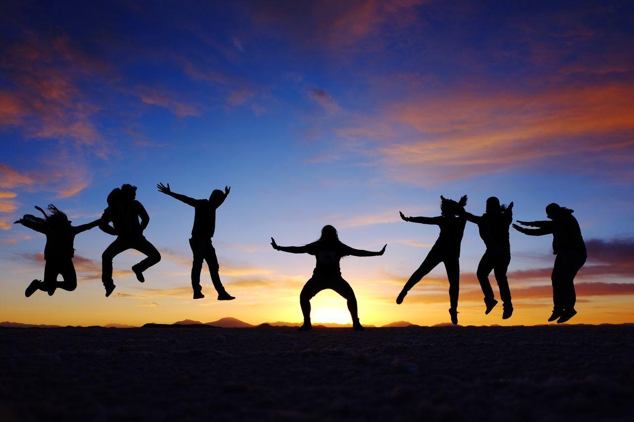 Raging. Sunset Sunset Silouhette Friends Travel Friendship Travel Group Shot Salar De Uyuni Fighting Hadouken Bolivia