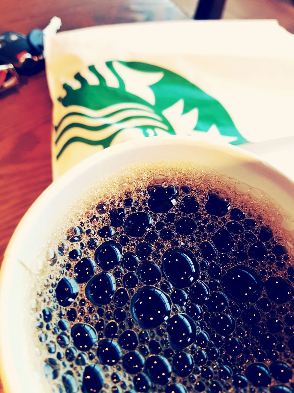 The place to be on a rainy day! Drink Close-up Refreshment Food And Drink Indoors  Frothy Drink No People Latte Day Starbucks Starbucks Coffee Staying Connected EyeEm The Traveler Photography Bubbles ♥ Blackcoffee Blackcoffeeonly