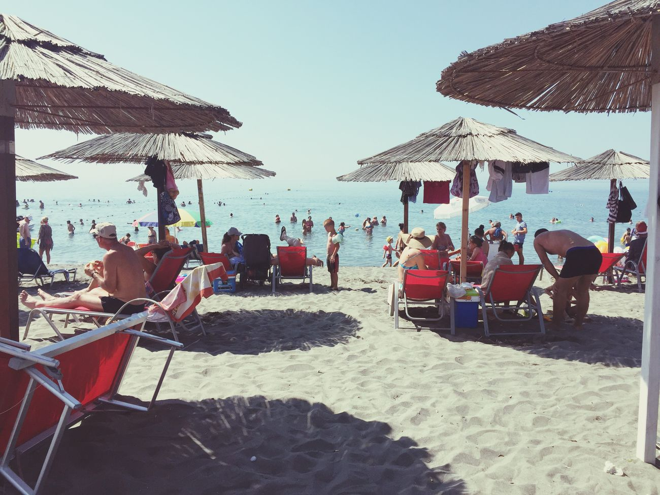 Large Group Of People Beach Umbrella Tourist Beach Enjoyment Velipoje ❤️ Albania 👐🏼
