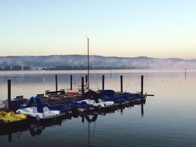 Water Boat Waterfront Clear Sky Tranquility In A Row Calm Tranquil Scene Morning