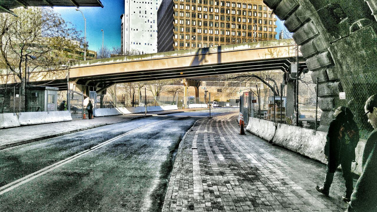 architecture, built structure, building exterior, transportation, road, outdoors, bridge - man made structure, day, city, no people