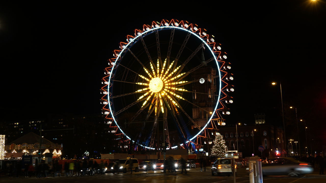 Ferris wheel, Alexanderplatz Berlin Night Celebration Ferris Wheel Illuminated Berlin Alexanderplatz Market Christmas Around The World