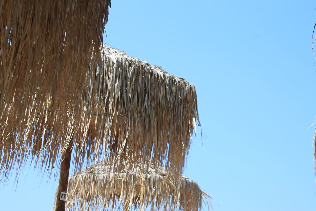 clear sky, low angle view, thatched roof, day, blue, motion, water, outdoors, shower, nature, no people, sky, dripping, close-up