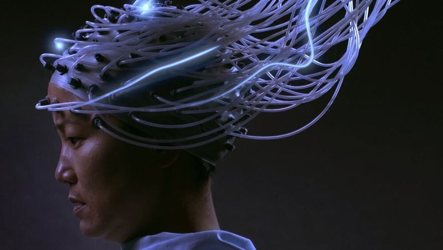 Internet Addiction Studio Shot Headshot Close-up Black Background Young Adult Human Face Looking Freshness