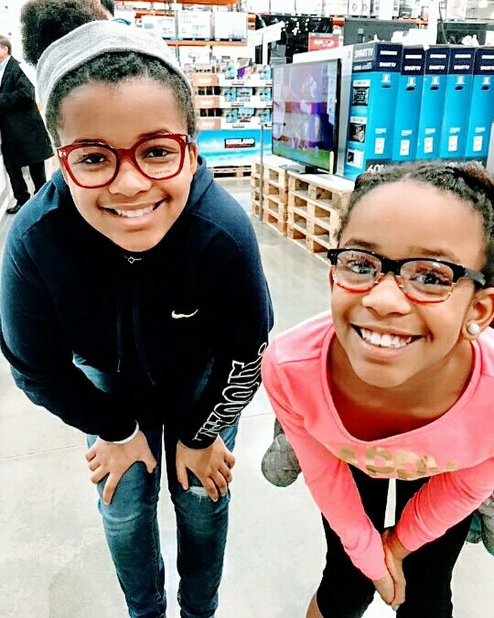 Eyeglasses  Togetherness Happiness Toothy Smile Sisters♡ Bonding Smiling Costcos!!:) Costco Life Newspecs Kids Are Awesome Blackkids AllKidsROCK