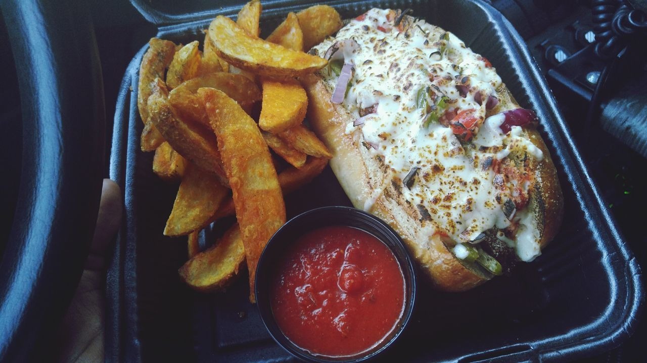 Show Us Your Takeaway! Chicken Parmesan Sub Potato Wedges Salsa Food Trucks Food Trucks Are The Best Best Lunch Delivery Heroes