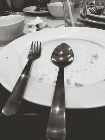 Spoon And Fork Plate Eat Blackandwhite Photography Monochrome Leftovers Black And White