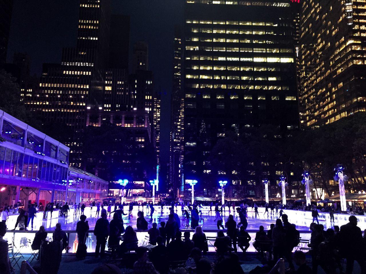 Skating at Bryant Park Skating Skating ✌ Skating Rink Icerink Ice Rink Skating In The Dark Ice Skating Ice Skating ❄ Winter Is Coming Christmas Is Coming Night Illuminated City Outdoors Ice Rink Bryantpark Bryant Park  New York New York City