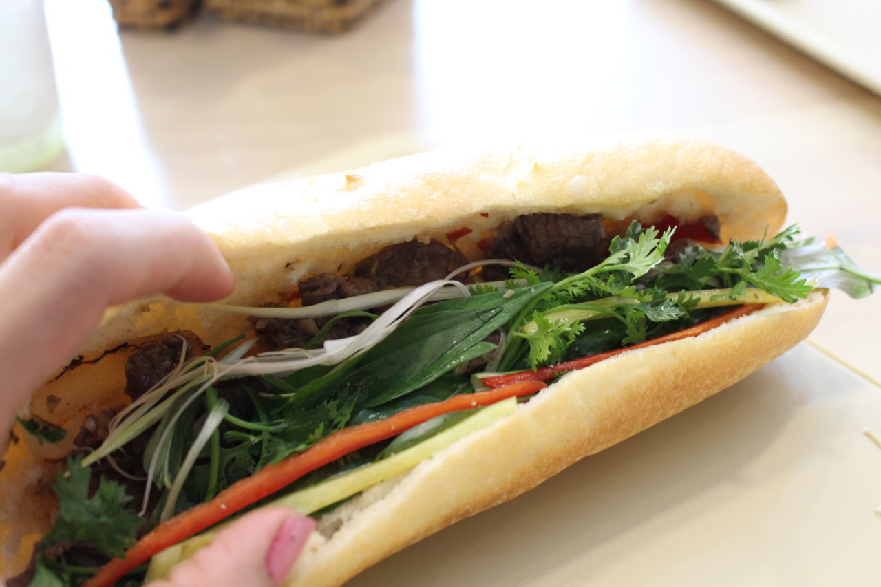 Adult Adults Only Banhmi Banhmisaigon Banhmithit Banhmivietnam Close-up Day Food Food And Drink Freshness Healthy Eating Holding Human Body Part Human Hand Indoors  One Person People Ready-to-eat Real People Sandwich Vietnamfood Vietnamfoodstreet