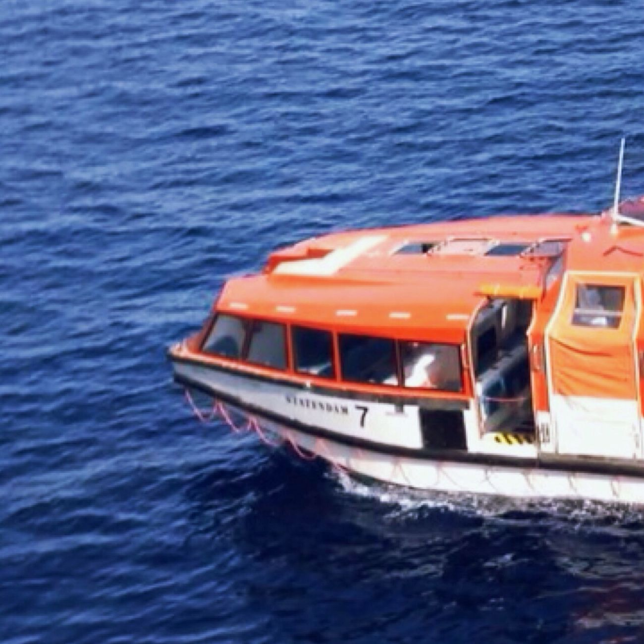 Cruise Lifeboat Orange Pacific Ocean Vhoto