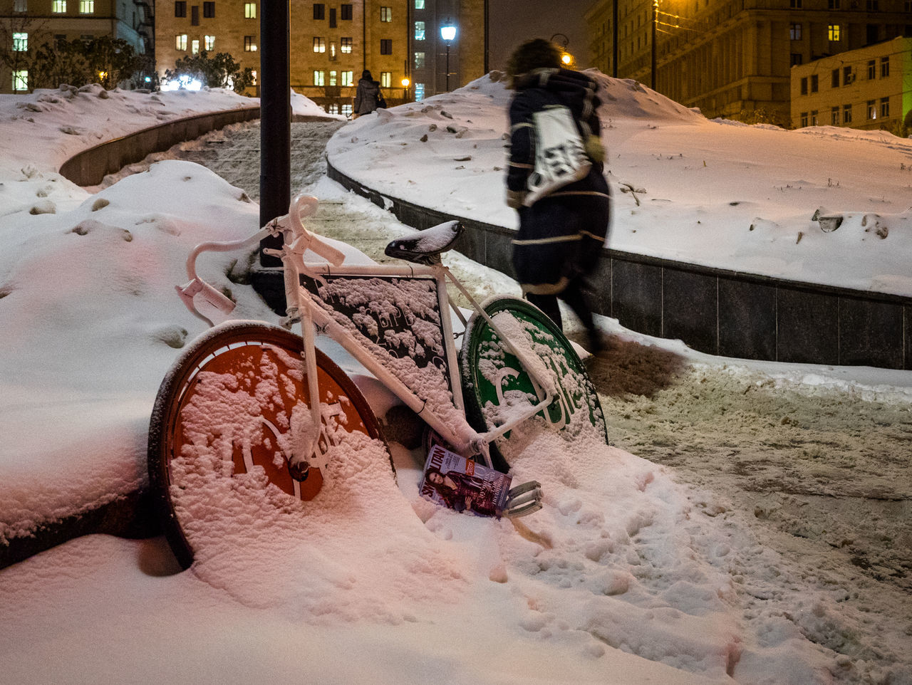 Russia, Moscow, winter bike Car City Cold Temperature Day Mode Of Transport No People Outdoors Russia, Moscow, Winter Bike Snow Snowing Transportation Winter