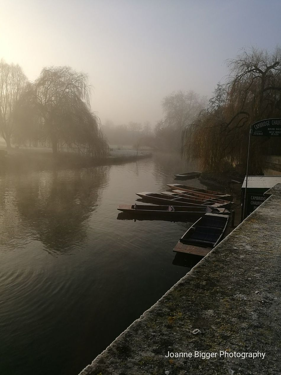 Misty winter morning along the River Cam in Cambridge UK Water Fog No People Mode Of Transport Transportation Winter Punting On The River Cambridgeshire Huaweiphotography HuaweiP9 Outdoors Frosty Misty Morning Finding New Frontiers