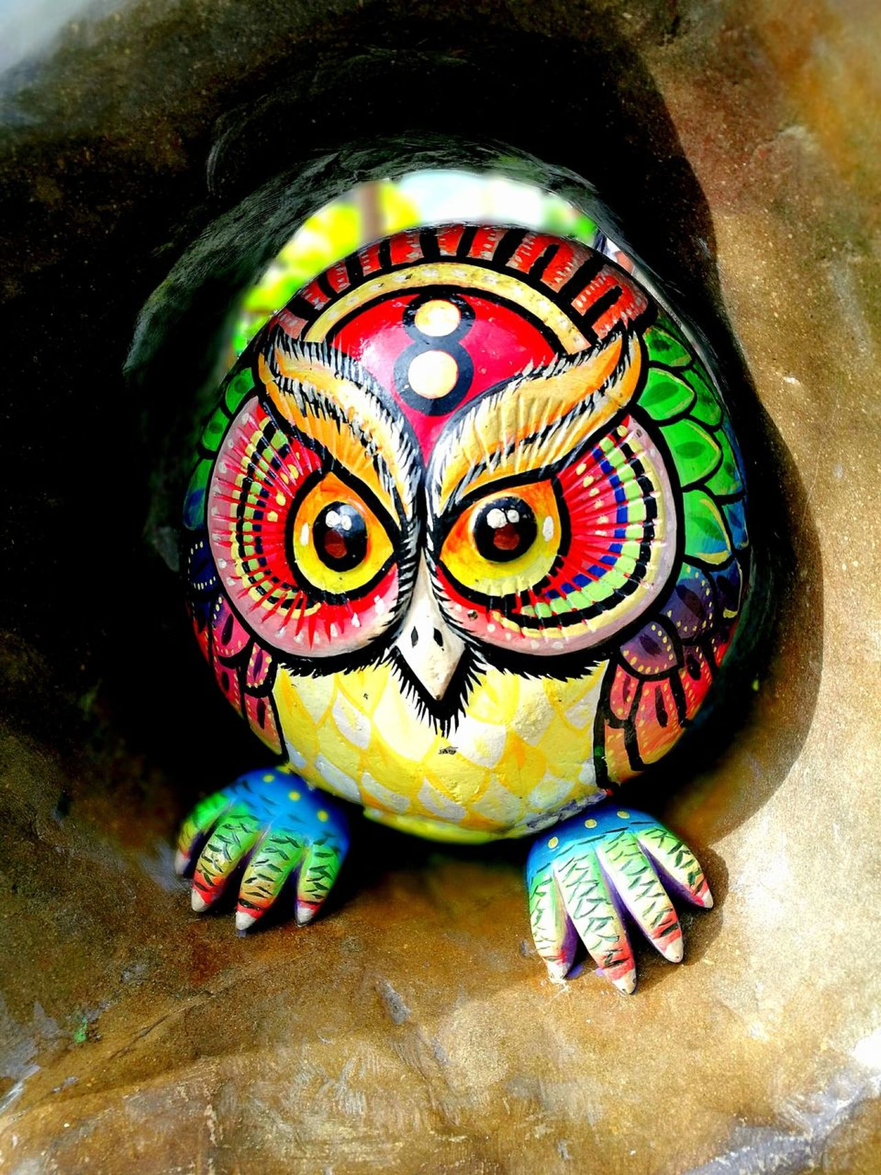 Statue Colorfull Owl Day Stone