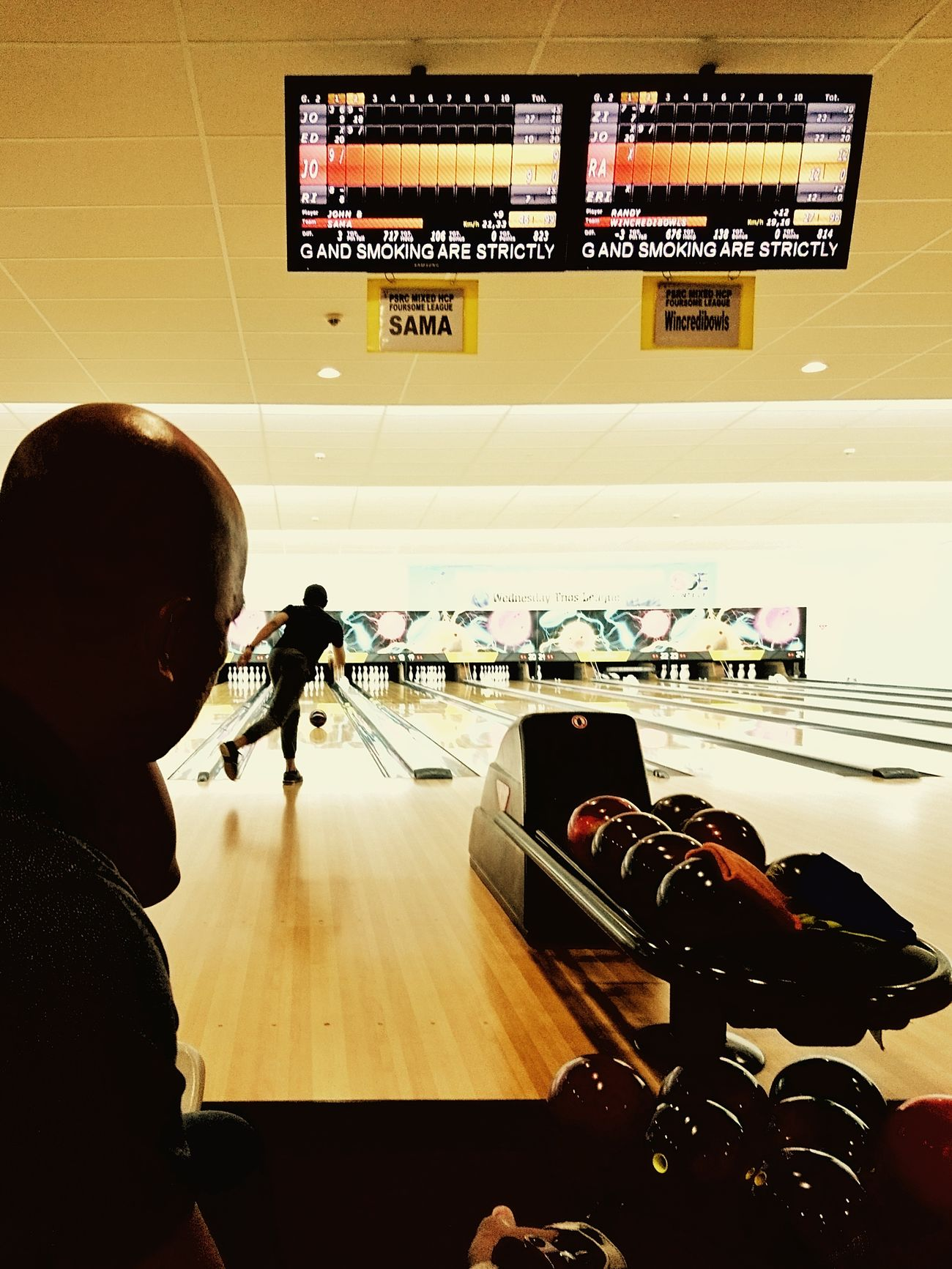 Bowling night Bowling Bowling Alley Bowling Balls Indoors  Drastic Light Lanes Brightly Lit Throwing