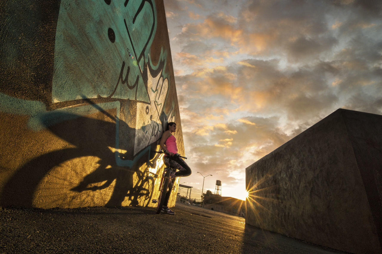 enjoying the sunset Aguascalientes Aguascalientes' Sunset Atardecer Bicicle Bicicleta Cloud - Sky Day Excercise Excercise Time Nature No People Outdoors Shadow Shadows & Lights Sky Sport Sports Sports Photography Sunset