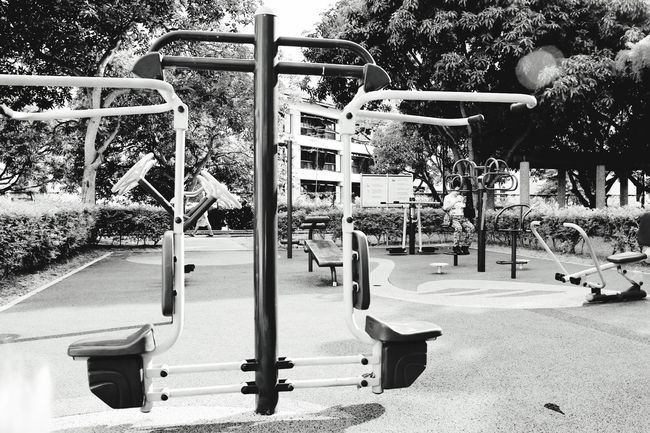 Monochrome Photography Playground Eyeem Singapore Outdoor Play Equipment Tree Bw_collection Black And White Outdoors Monkey Bars Slide - Play Equipment Leisure Activity Swing Horizontal playground series-