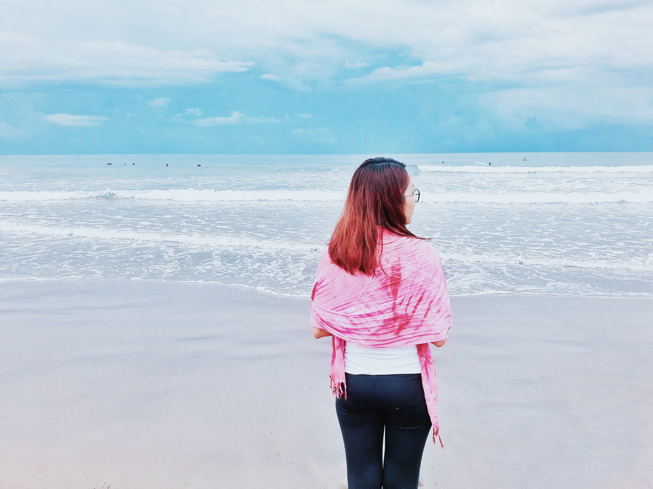 Girl Summer Ocean Oceanview Faces Of Summer Facing The Ocean Sky Sea And Sky Blue Wave Waves, Ocean, Nature Wanderlust Traveling Travel Photography Waves Storm Cloud Stormy Weather