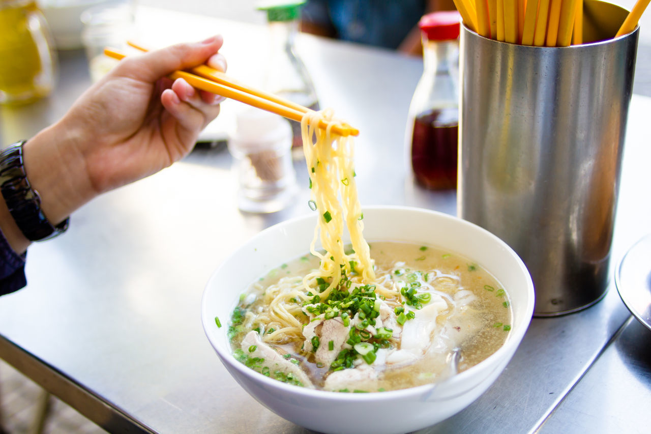 Starting a morning with Chinese traditional eggs noodles soup serves with pork Asian  Beijing Breakfast Char Kuay Teow China Chinese Chopsticks Culture Delicious Food Food And Drink Gourmet Healthy Eating Healthy Lifestyle Meal Noodles Organic Pork Ready-to-eat Soup Spoon Table Traditional
