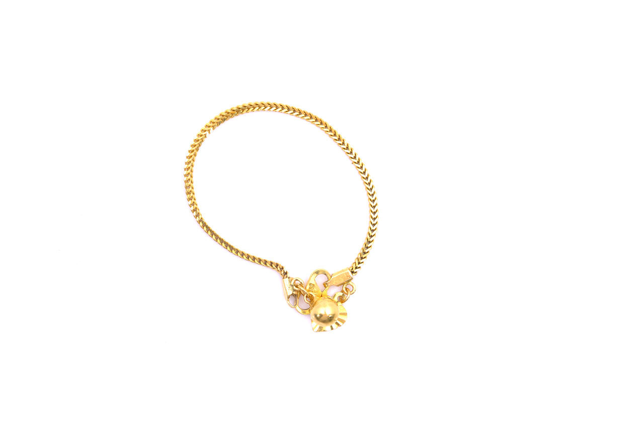 gold bracelet jewelry on white background Accessories Bracelet Expensive Glamour Gold Golden Goldsmith Jewelry Karat Luxury Ornaments Precious Valuable Wealth White Background Women Yellow