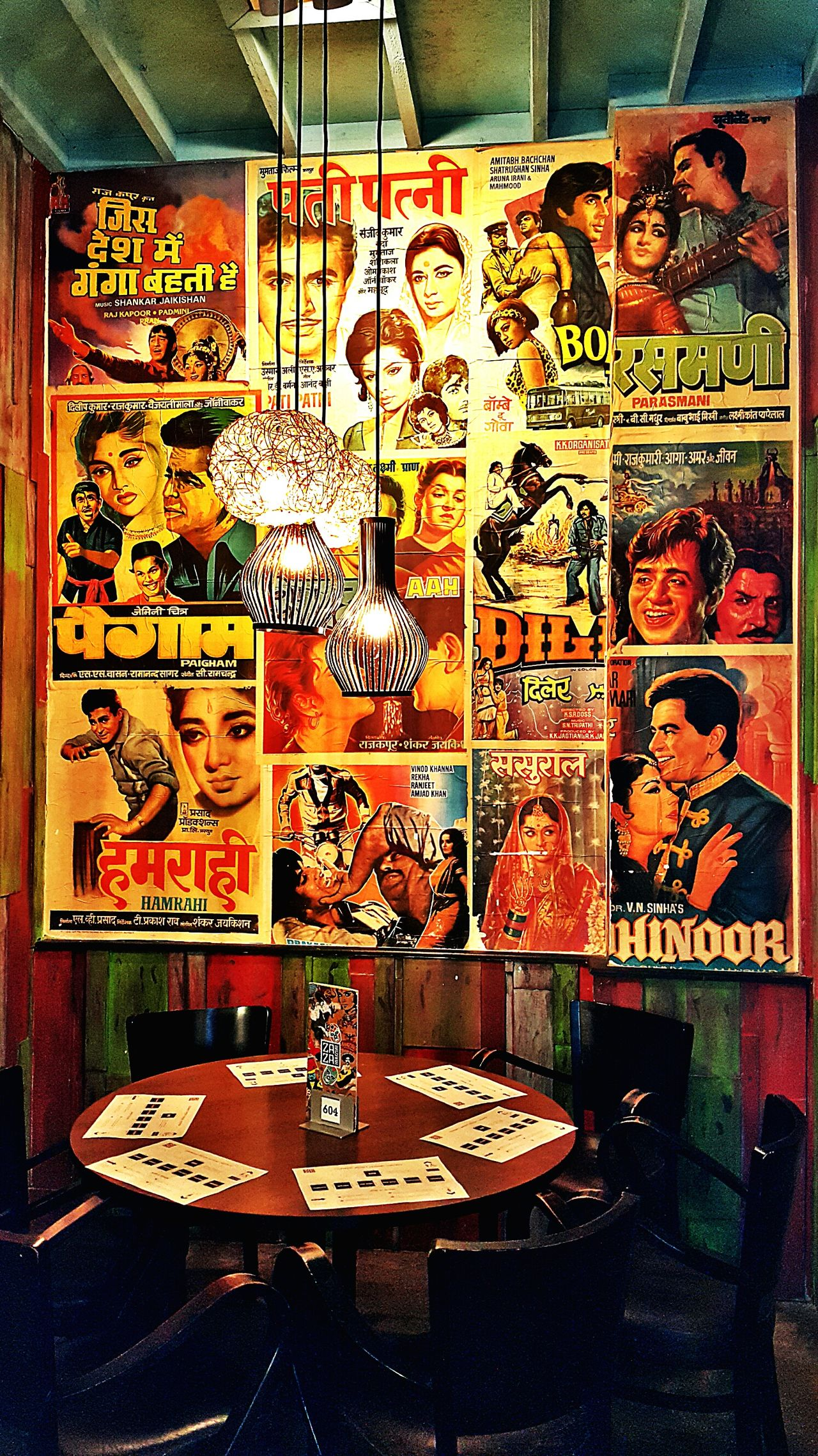 Bollywood Movies India Classic Vintage Nostalgia Posters Wallart Interior Design Restaurant Decor Close-up Indoors  No People Furnitures Dining Wallpapers Drawing, Painting, Artwork Heroes Heroines Acting Romance ❤✨✨ Comedy Drama Love ♥ Songs