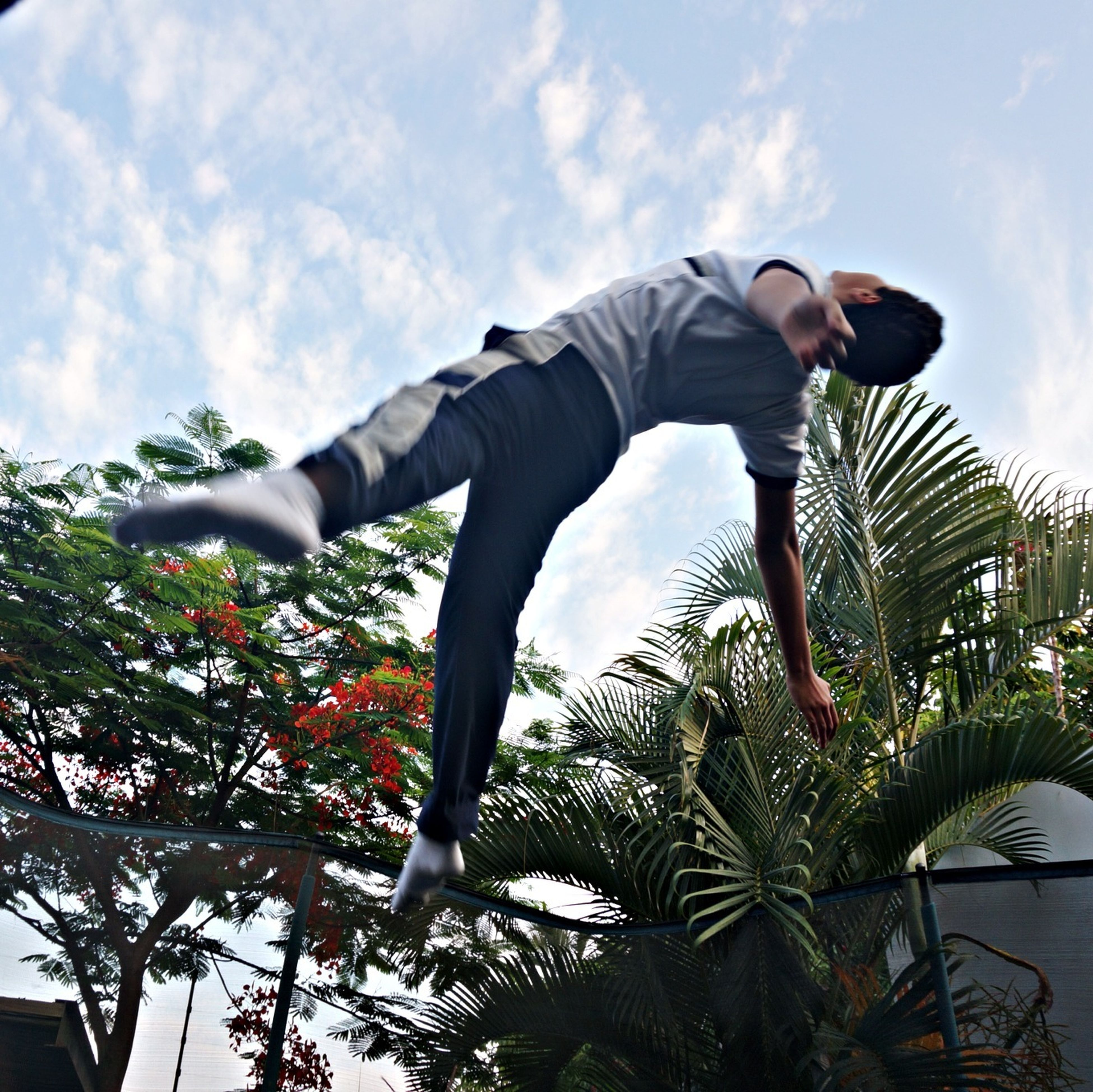 low angle view, sky, lifestyles, leisure activity, full length, tree, cloud - sky, casual clothing, men, jumping, cloud, standing, rear view, day, outdoors, mid-air, holding, cloudy