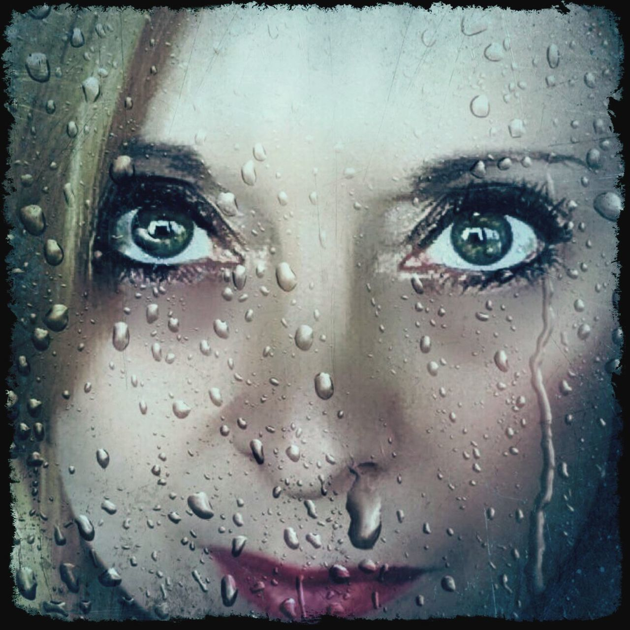 looking at camera, wet, drop, rain, one person, human eye, portrait, beautiful woman, window, close-up, one young woman only, water, young adult, indoors, human face, one woman only, adults only, raindrop, human body part, only women, people, adult, day