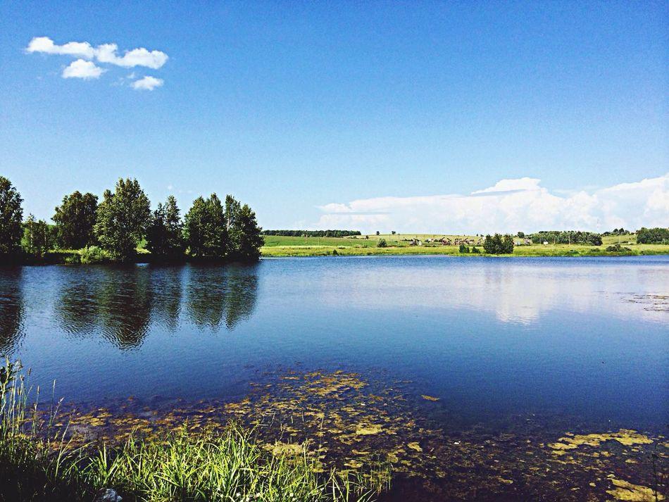 Озеро небо облака красота природа лучшие