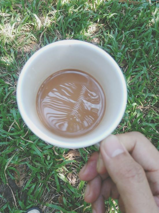 Coffee Mokka Human Hand Holding Drink Hot Coffe..☕️☕️ Hot Coffee Coffee Mug One Person Human Body Part Grass Day Food And Drink Freshness Thailand