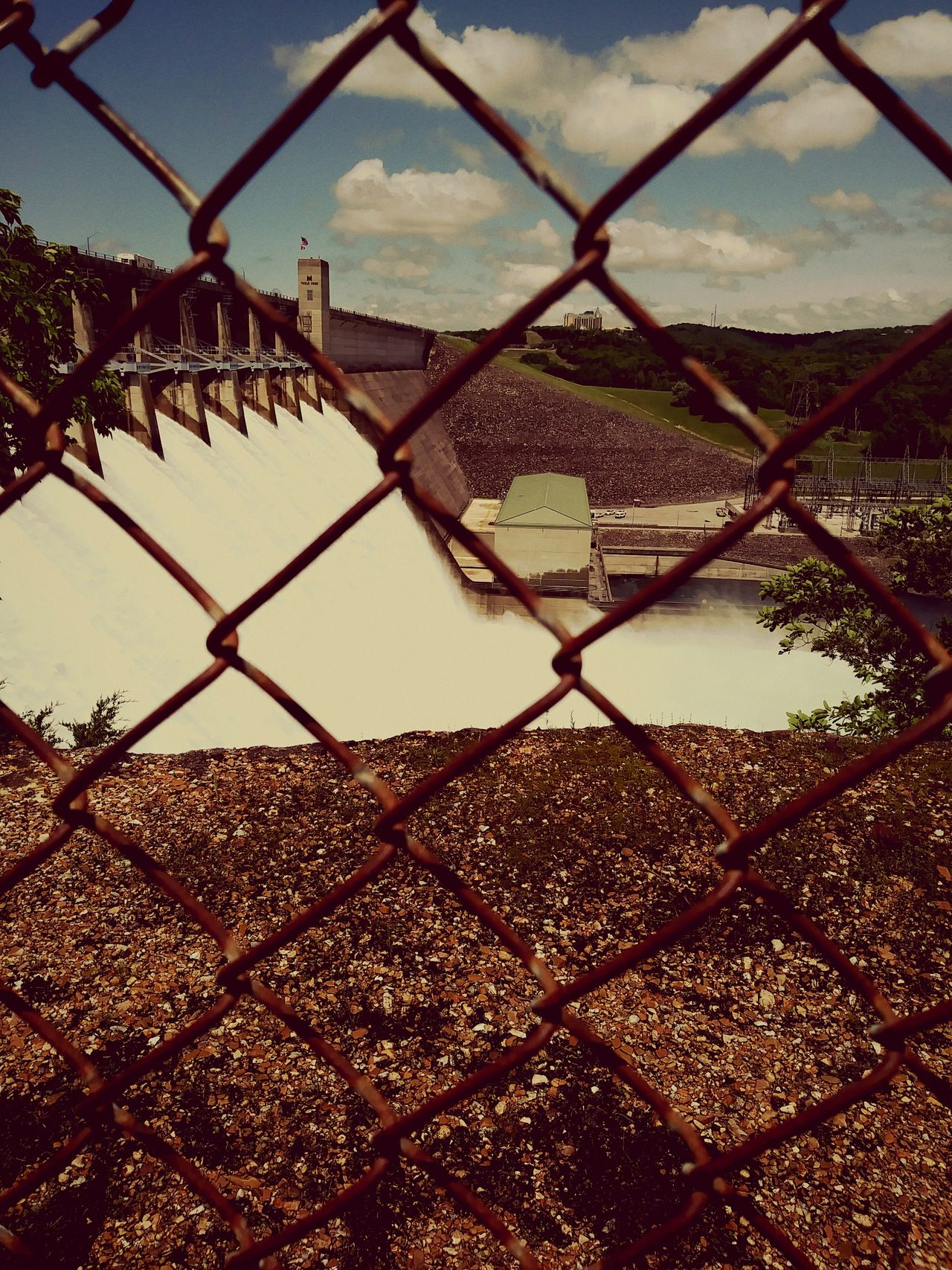 Sky Water Nature Dam Waterfalls Rapid Water Foam Water Day Time Chainlink Fence
