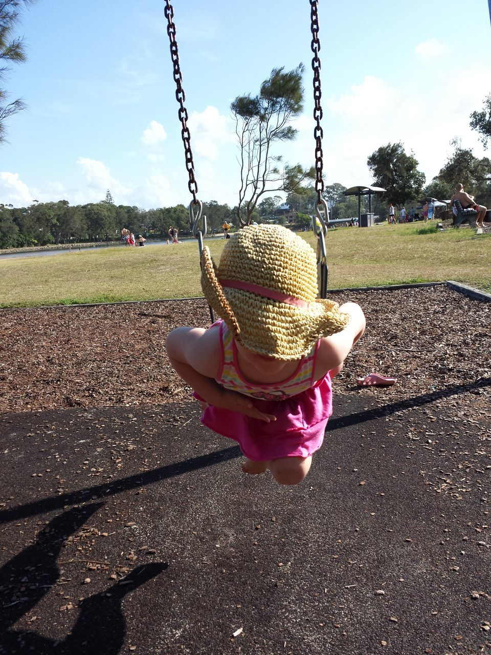childhood, real people, sunlight, outdoors, day, one person, shadow, sky, growth, sun hat, tree, lifestyles, nature, people