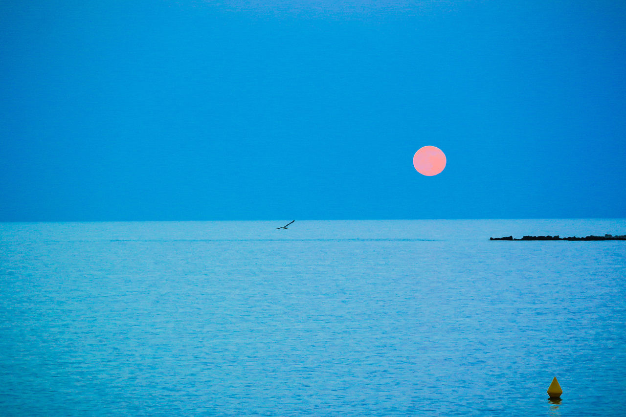 Beauty In Nature Blue Clear Sky Copy Space Horizon Over Water Idyllic Majestic Moon Nature Outdoors Scenics Sea Seascape Summer Water Waterfront