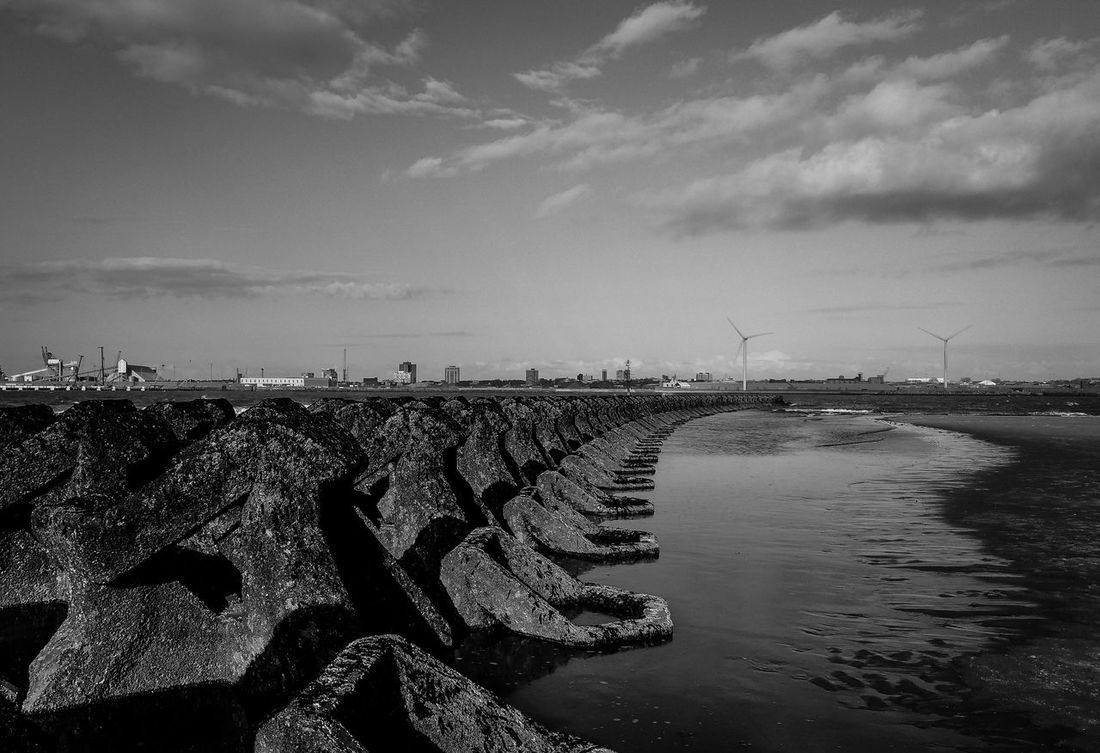 Beach Beauty In Nature Black And White Photography Blackandwhite Cloud And Sky Day Horizon Over Water Industry Liverpool Nature New Brighton No People Outdoors Scenics Sea Sea Defence Sky Tranquility Water Wirral Wirral Peninsula