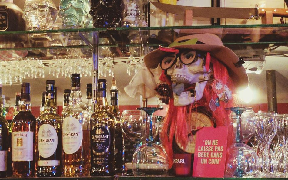 Paris By Night Alcohol Bottles Bar Week8 52WeekChallenge Hat Skeleton Orange Decoration Bottles Collection Bottles Front View Reflection Shiny Things Drinking Glass Paris Night Portrait Bebe Alcohol Indoors  52frames 52 Weeks 52 Week Challenge 52 Knife