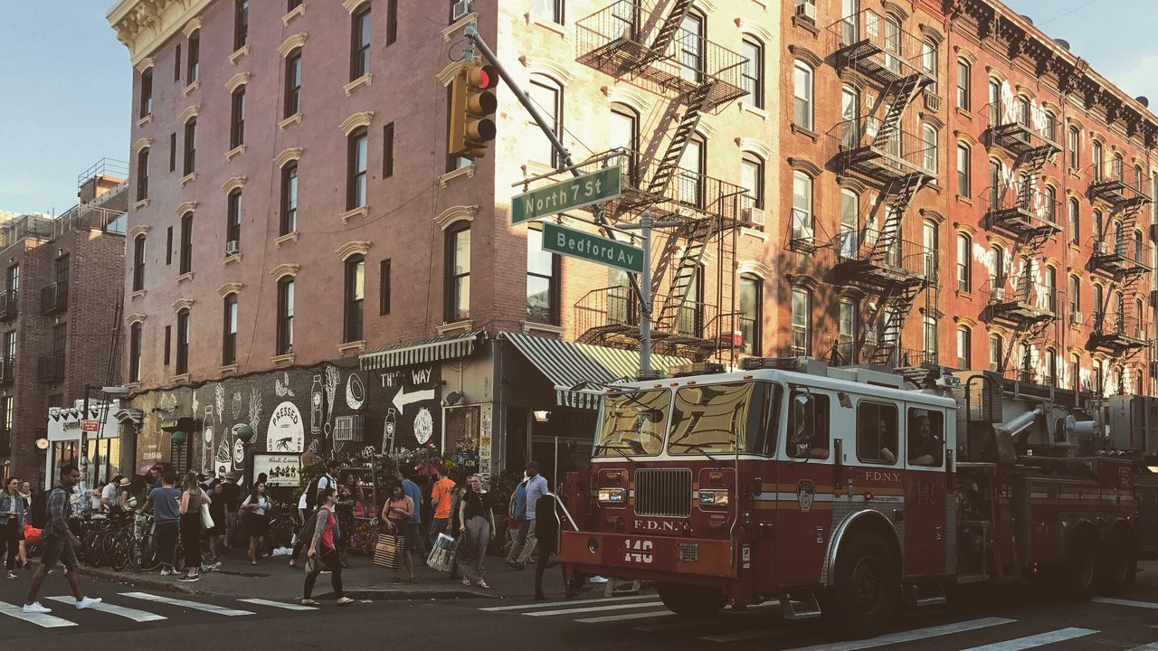 Streetphotography Street Photography Busy Afternoon Street Firetruck Colors Brooklyn Bedford New York New York City Newyork