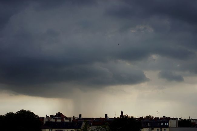Rainy Days Downpour Wet Weather Clouds Evening Sky Skyline Panoramic View From The Rooftop Storm Clouds