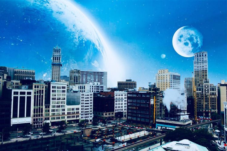 Moon Skyscraper Planet - Space Building Exterior Night City Sky Cityscape Space Snow Built Structure Winter Planet Earth Urban Skyline Outdoors Modern Astronomy No People Futuristic