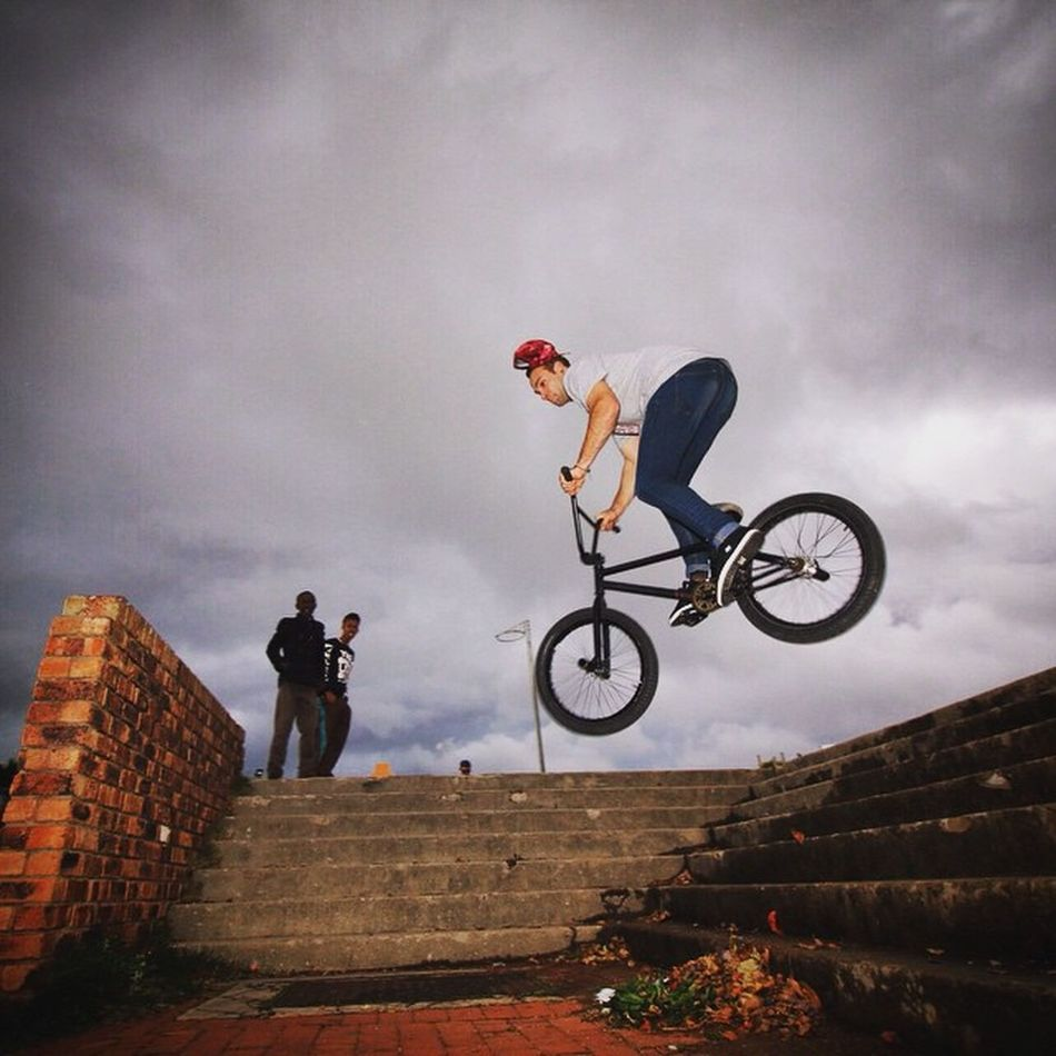 """@satt.milo dropping a 360 off the stairs to an epic land. """"Courage is not the absence of fear, but rather the judgement that something else is more important than fear."""" - Ambrose Redmoon Bmx  RBZAlookdown Rideforgood Redbullza GivesYouWings Shooteditsleeprepeat"""