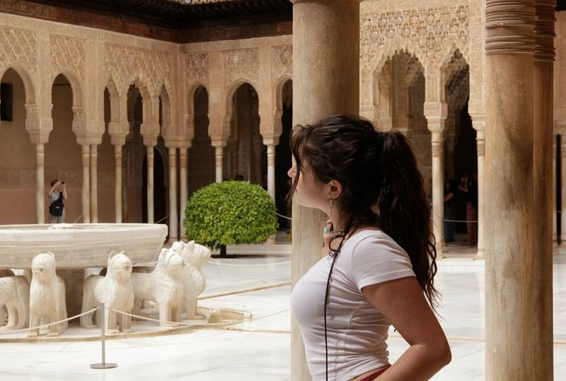 Alhambra De Granada  Casual Clothing Side View Architectural Column Long Hair Arch Spain ✈️🇪🇸 Person Black Hair Beautiful ♥ Beautiful Day Builiding Lovely Young Adult Casual Clothing Side View Sitting Young Adult Arch Person Black Hair Long Hair Architectural Column