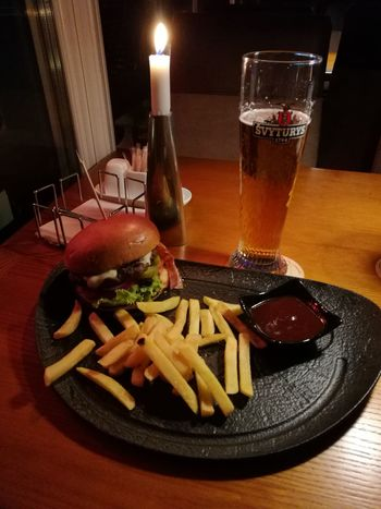 Food And Drink Drink Drinking Glass Table Beer Glass Food No People Ready-to-eat Lifestyles Hamburger Food And Drink Alcohol