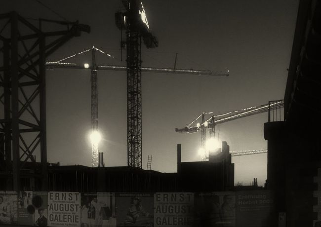 Night cranes Black & White City, Construction Crane Industry Night Night Photography